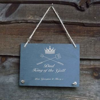 Father's Day Personalised Slate Hanging Garden/Door Sign - 'King of the Grill'