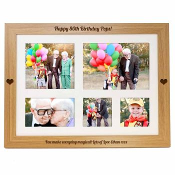 Personalised photo lap tray engraved with your choice of names or message. Unique Birthday gift.