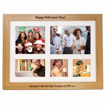 Personalised photo lap tray engraved with your choice of names or message. Unique Retirement gift.