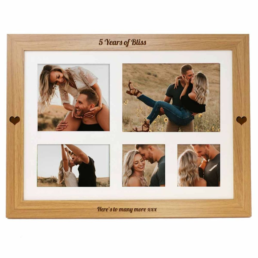 5th Anniversary Personalised photo lap tray engraved with your choice of na