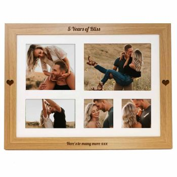 5th Anniversary Personalised photo lap tray engraved with your choice of names or message