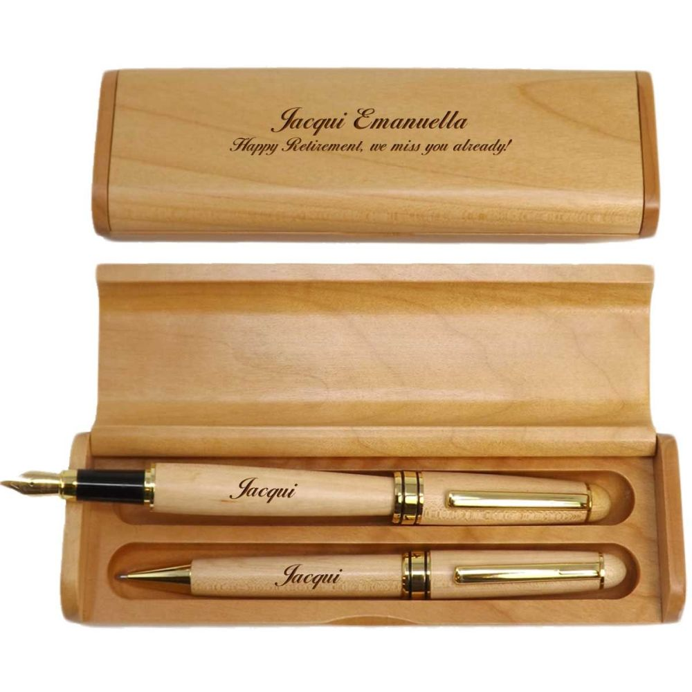 Retirement Personalised Maple Ballpoint and Fountain Pen in Maple Box