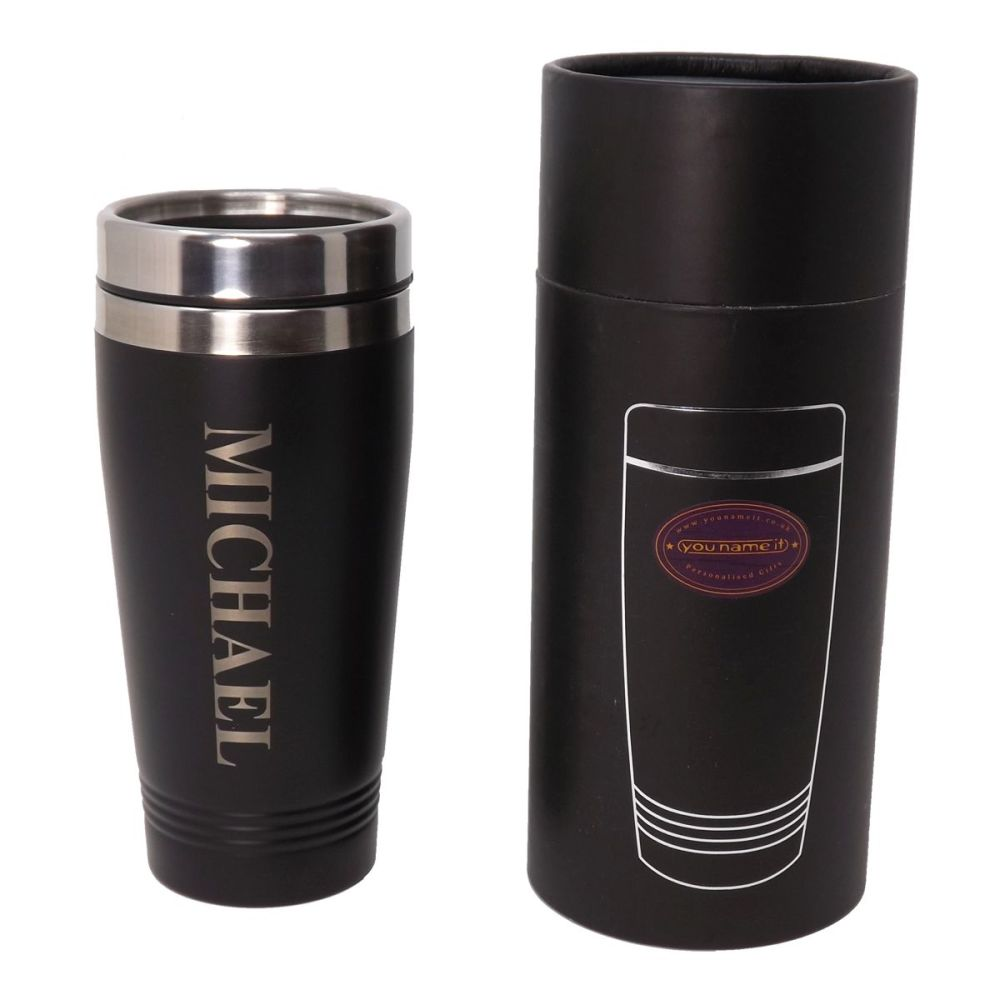 Personalised re-usable Black thermal Stainless-Steel travel mug. Ideal for