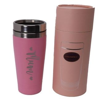 Mother's Day Pink Thermal Stainless Steel Travel Mug Personalised.