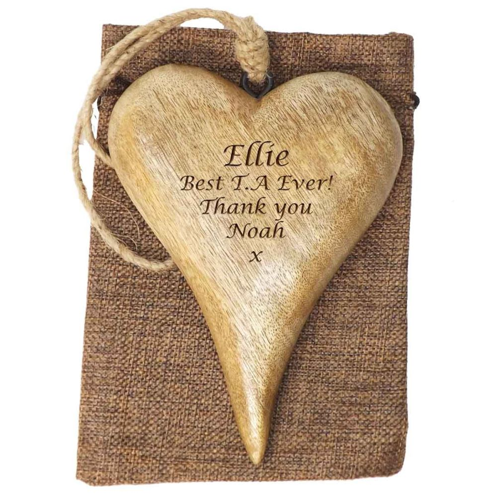 Personalised Hanging Heart in Solid Natural Wood - A Unique Teacher's gift