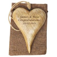 Personalised Hanging Heart in Solid Natural Wood - A Unique Engagement Gift