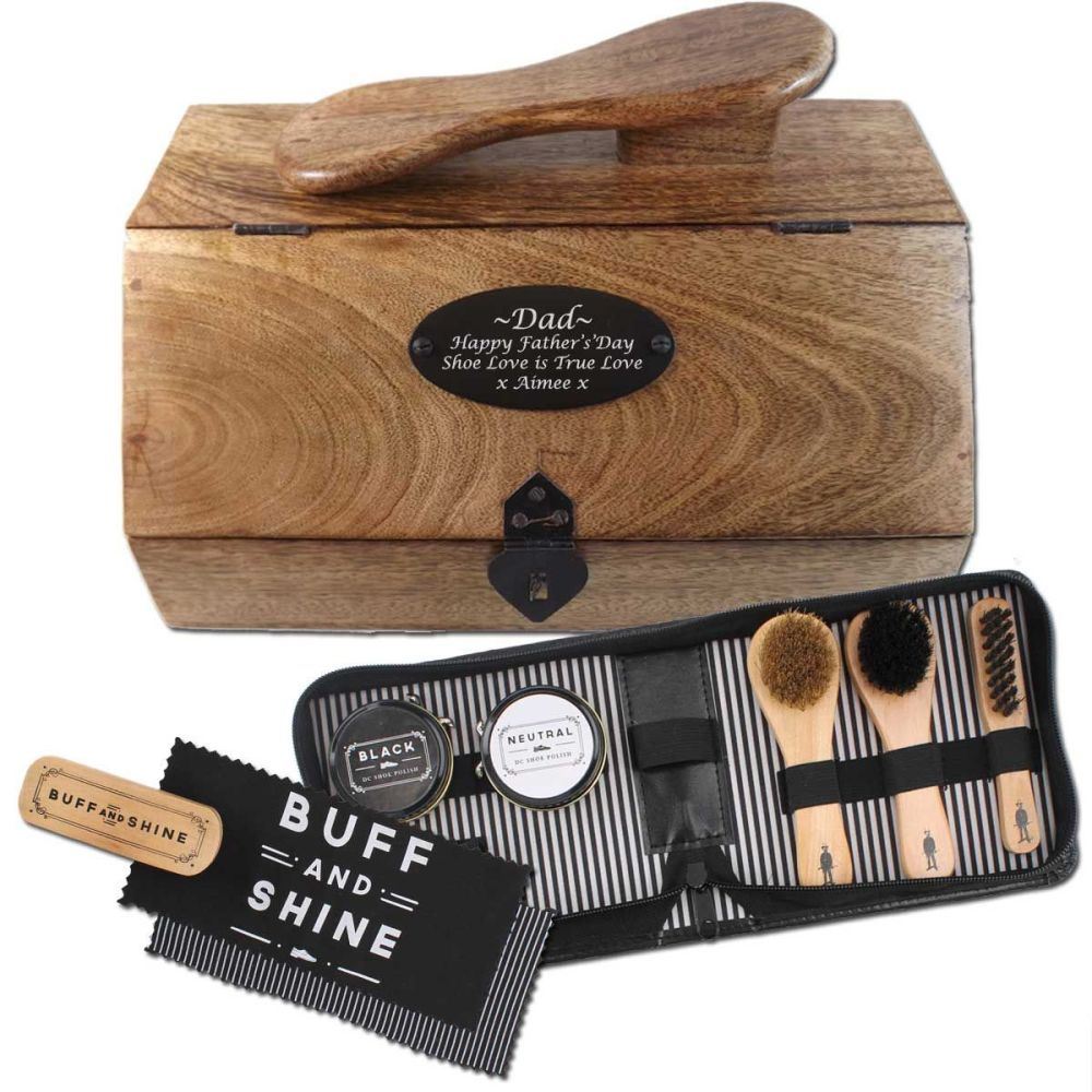 Wooden Shoe Shine Box Personalised with 8pc Shoe Shine Kit. Unusual Father'