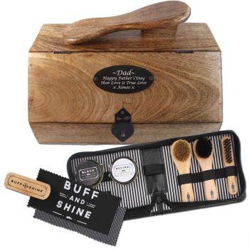 Wooden Shoe Shine Box Personalised with 8pc Shoe Shine Kit. Unusual Anniversary Gift.