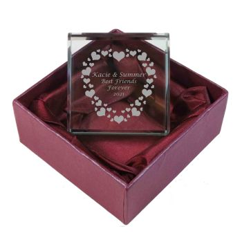 Personalised Glass Token with Hearts. Ideal gift for End of Term.