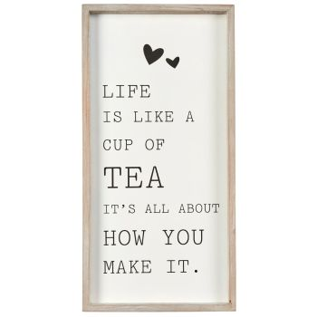 Life's like a cup of tea quirky framed wall sign
