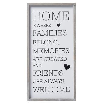 ' Home is where…' sign