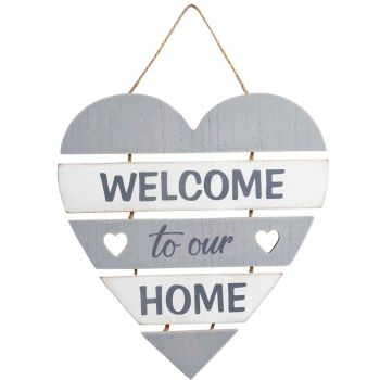 Welcome to our Home slatted heart wall sign