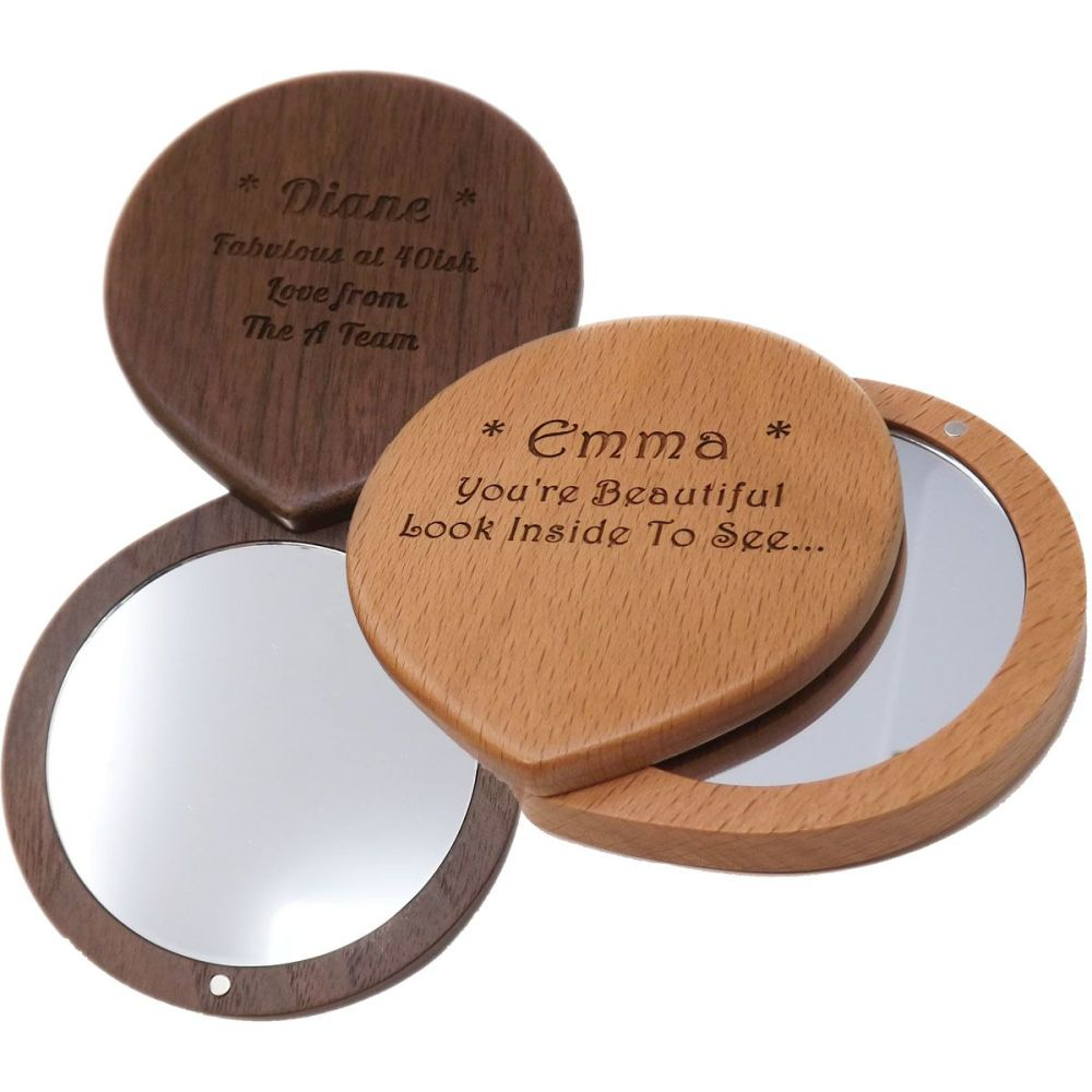 Personalised Walnut or Beech Compact Mirror a special gift for 5th Annivers