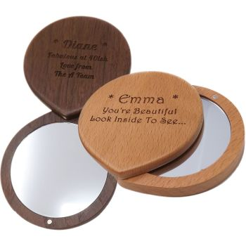 Wooden Compact Mirror   Personalised gift for Saying Thank You