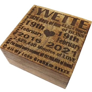 5th Wedding Anniversary Wood Box with Unique Personalised Lid