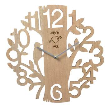 Wooden Wall Clock personalised with carved heart and initials