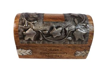 Personalised Silver Leaf Wooden Box Small - Great Anniversary Gift