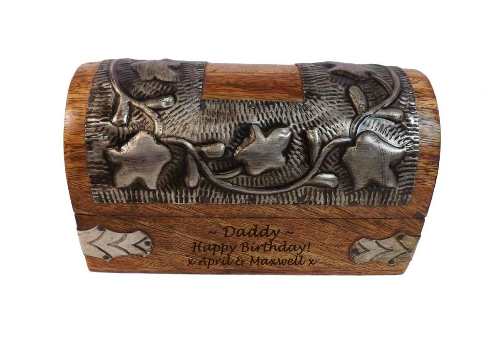 Silver Leaf Wood Box Small