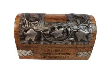 Solid Wood Chest style box personalised with your retirement message.