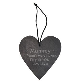Personalised Slate Hanging Heart Decoration Perfect Mother's Day Keepsake
