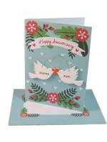 Anniversary Card With Personalised Wooden Birds