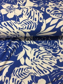 Hibiscous Flowers on Blue   Stretch Fabric