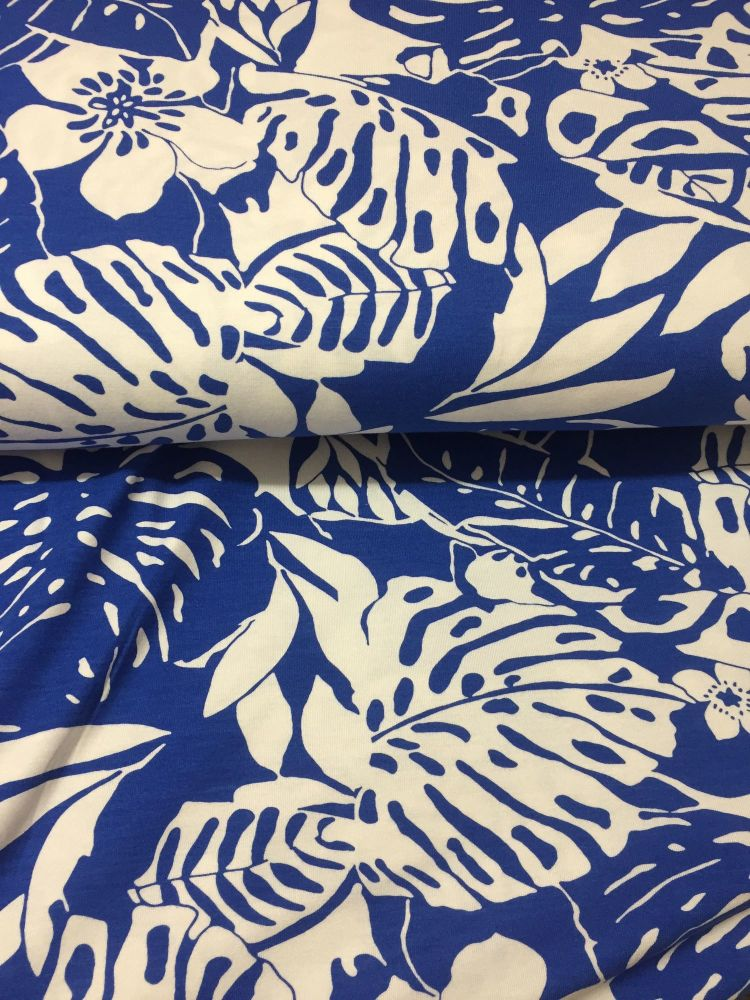 Hibiscous Flowers on Blue | Stretch Fabric