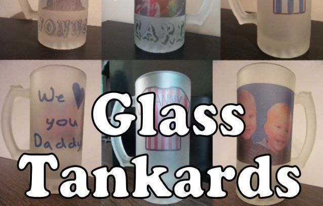 Personalised glass tankard pint glasses