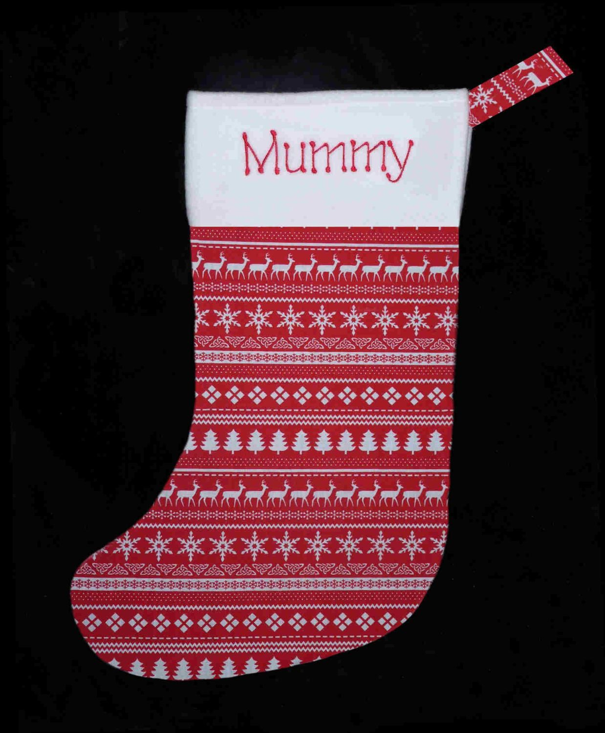 Embroidered Christmas Stockings.Personalised Embroidered Christmas Stocking Celtic Nordic Design