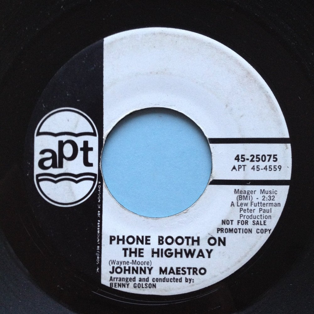 Johnny Maestro - Phone booth on the highway - APT promo VG++