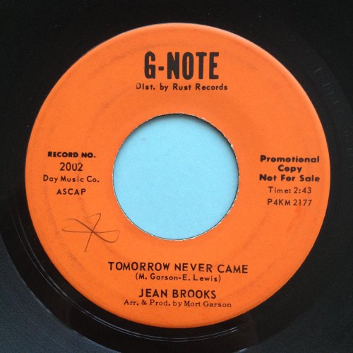 Jean Brooks - Tomorrow never came - G-Note Promo - Ex