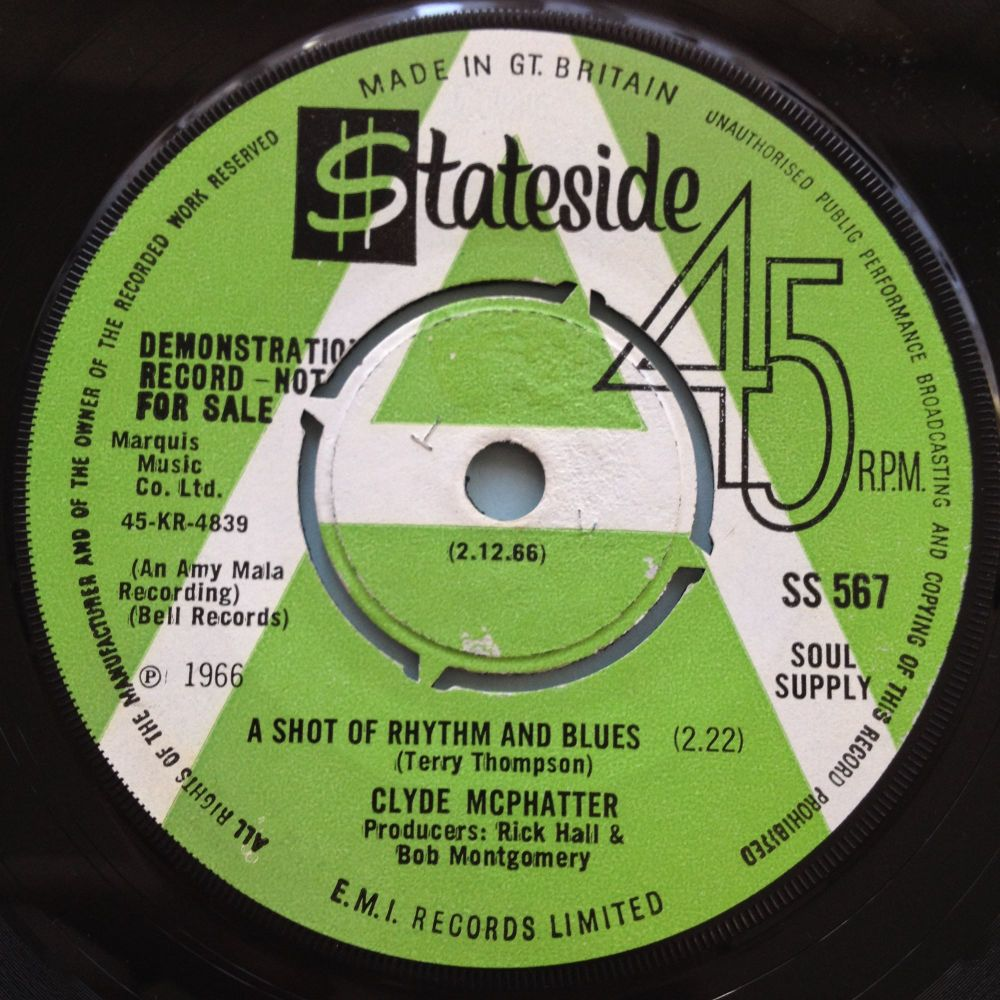 Clyde McPhatter - A shot of rhythm and blues - UK Stateside Demo - Ex