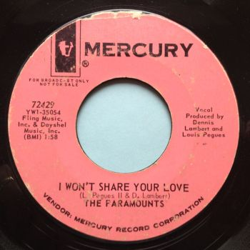 Paramounts - I won't share your love / The girls with the big black boots - Mercury promo - VG+