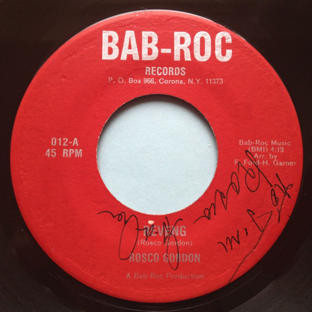 Rosco Gordon - Reveng - Bab-Roc - VG+ (signed by Rosco Gordon??)