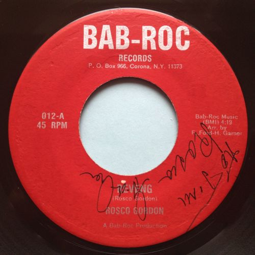 Rosco Gordon - Reveng - Bab-Roc - VG+ (signed by Rosco Gordon??)