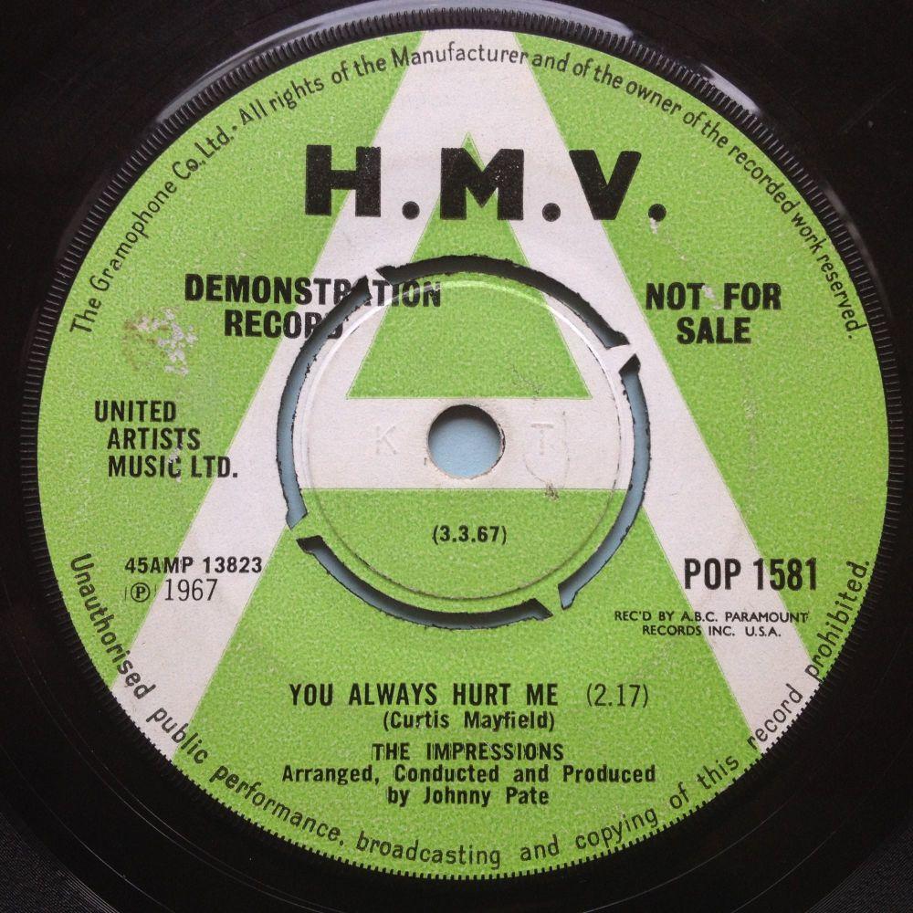 Impressions - You always hurt me - UK H.M.V. demo - VG+