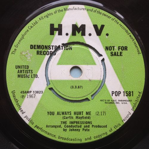 Impressions - You always hurt me - UK H.M.V. demo - VG+