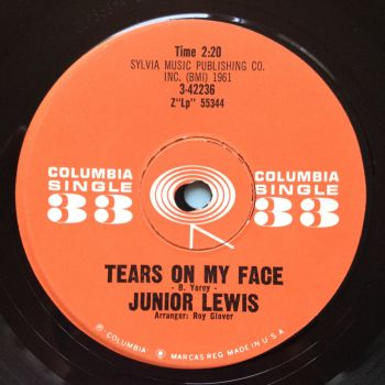 "Junior Lewis - Tears on my face - Columbia 33rpm 7"" - Ex-"