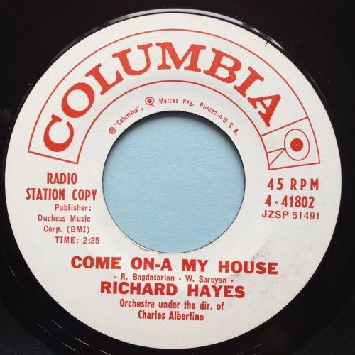 Richard Hayes - Come on-a my house - Columbia promo - Ex
