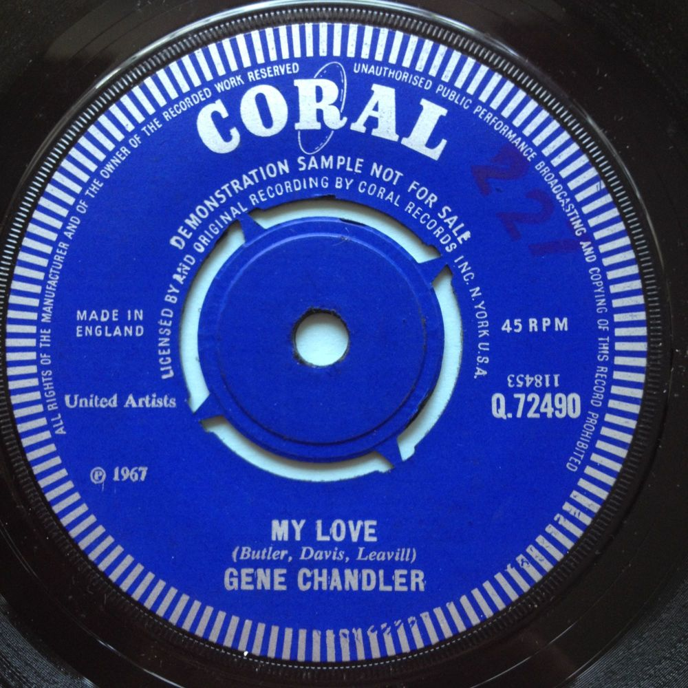 Gene Chandler - My Love b/w The girl don't car - UK Coral demo - Ex