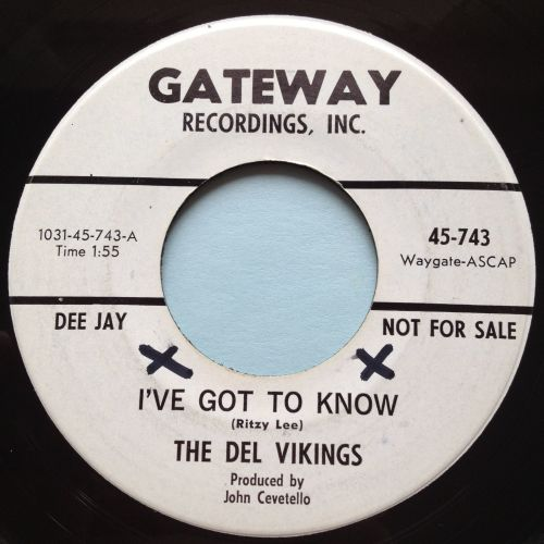 Del Vikings - I've got to know - Gateway promo - Ex