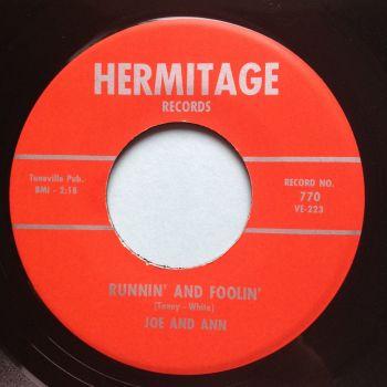 Joe & Ann - Runnin' and Foolin' - Hermitage - Ex-