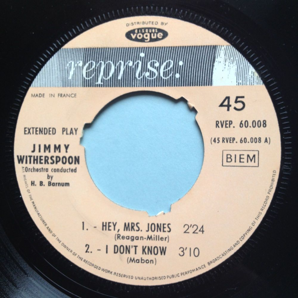 Jimmy Witherspoon - Hey Mrs. Jones E.P. - Reprise (French inc pic sleeve) -