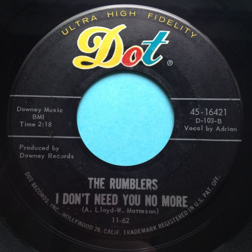 Rumblers - I don't need you no more b/w Boss - Dot - Ex-