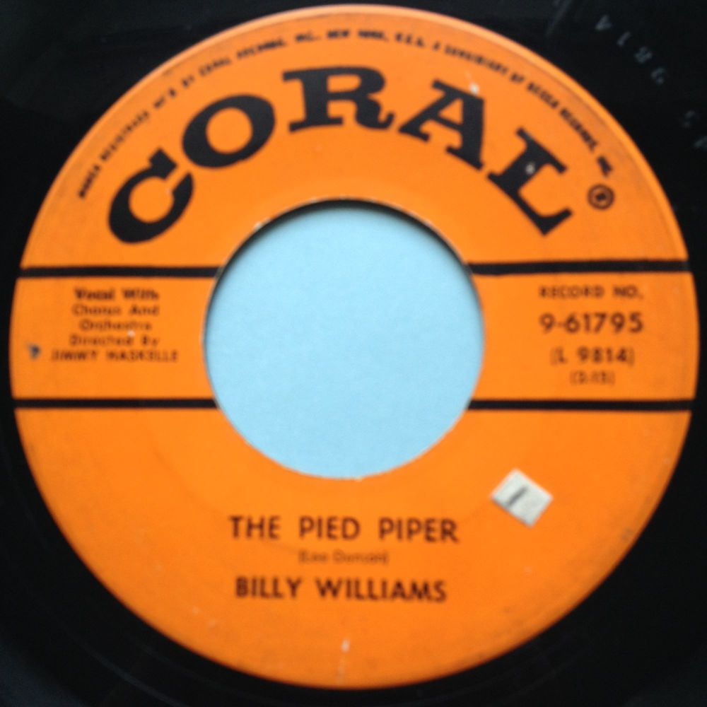 Billy Williams - The Pied Piper - Coral - VG+