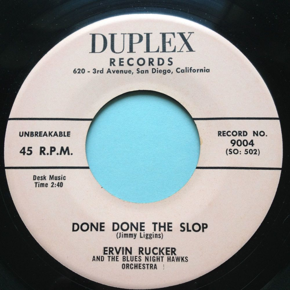 Ervin Rucker - Done Done The Slop - Duplex - Ex