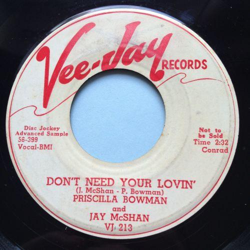 Priscilla Bowman - Don't need your lovin' - Vee Jay promo - VG+