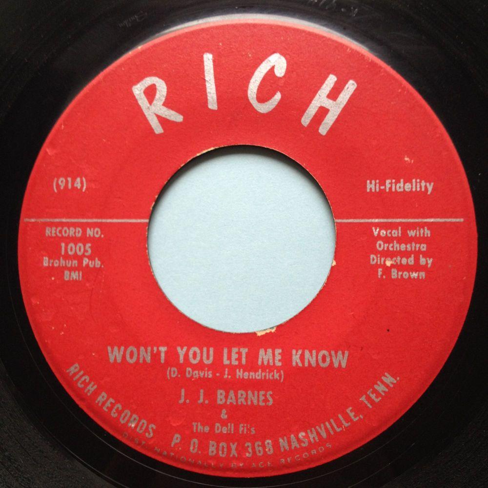 J. J. Barnes - Won't you let me know - Rich - VG+
