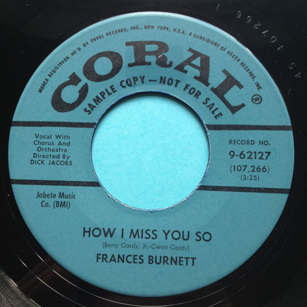 Francess Burnett - How I miss you so - Coral promo - Ex