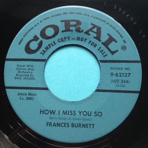 Francess Burnett - How I miss you so - Coral promo - Ex